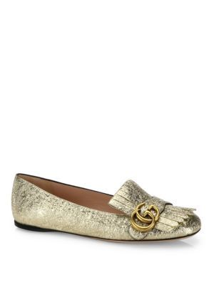 a7ebe47a07aa3 GUCCI Marmont Gg Metallic Leather Kiltie Flats.  gucci  shoes  flats ...