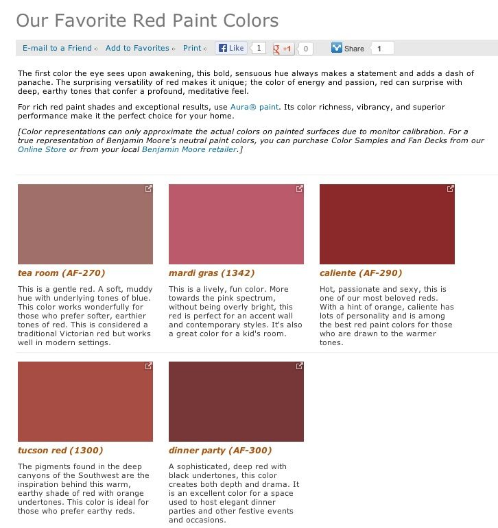 Favorite Popular Best Selling Shades Of Red Paint Colors From Benjamin Moore Tuscan