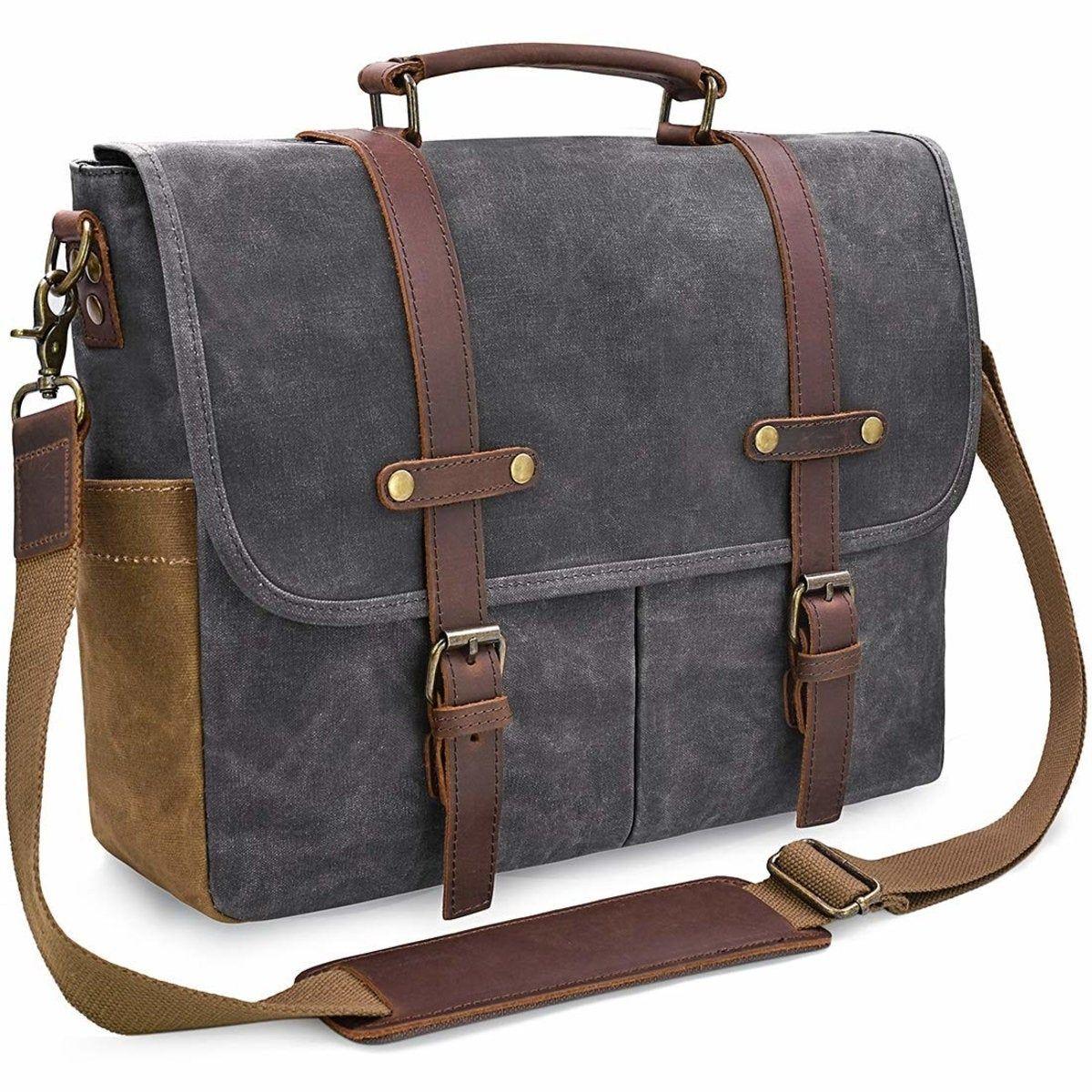 Unisex Vintage Large Mens Waxed Canvas Leather 14 Laptop Messenger Shoulder Bags School Book Bag Satchel