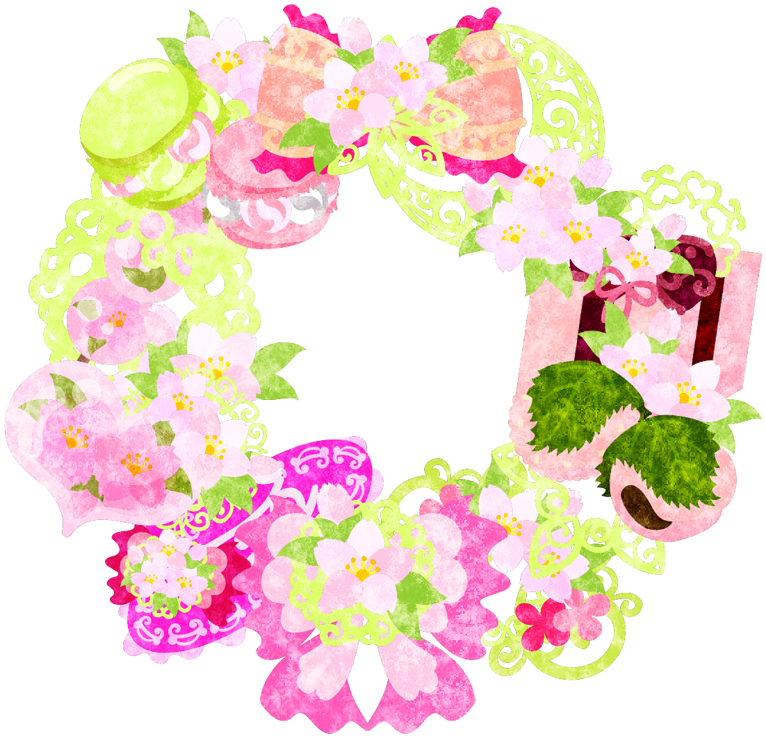 フリーイラスト素材桜の雑貨で作られたリース free illustration the
