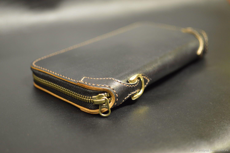 944a63b1f1e6 Кожаный кошелёк на молнии, клатч, тревелер - купить или заказать в  интернет-магазине
