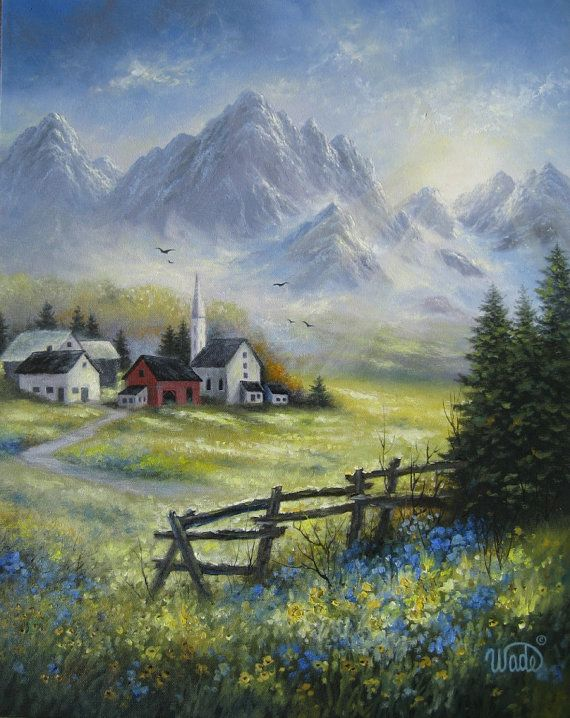Mountain Landscape Original Oil Painting Alpine Village
