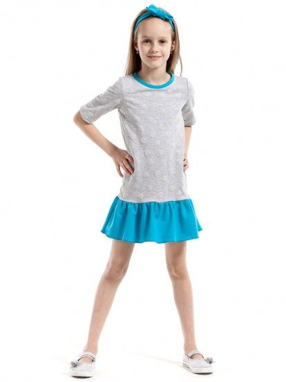 7635e55bf5b5 Παιδικό Κοντομάνικο Φόρεμα KIDIN - ανοιχτό γκρι