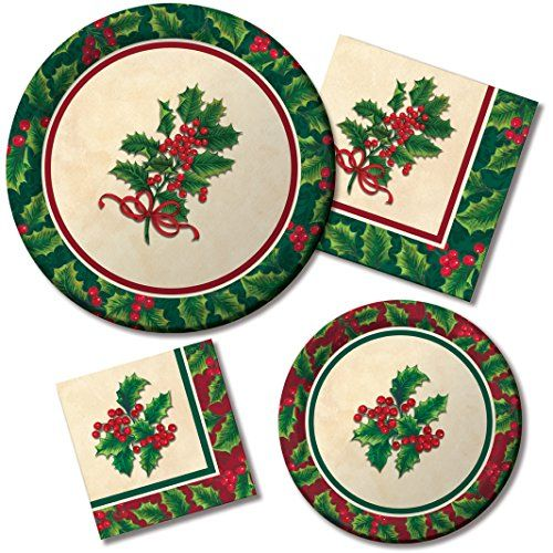 Tableware Kit for 16 Guests Paper Plates and Napkins Boughs Of Holly ...