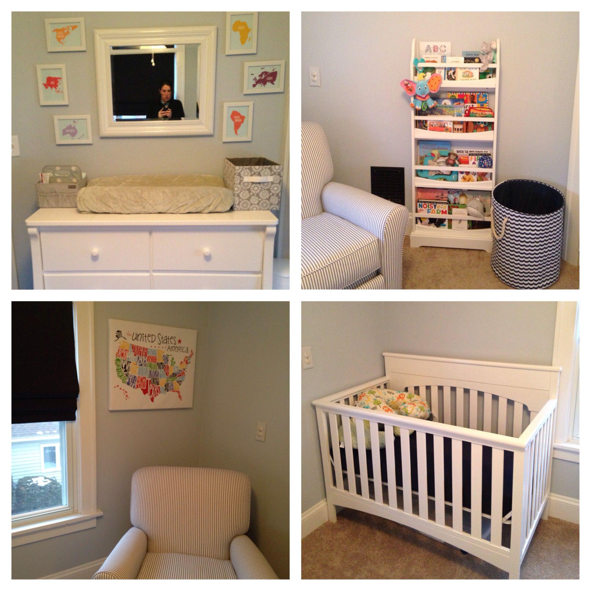 Gender neutral nursery with map theme Crib Delta Bennington