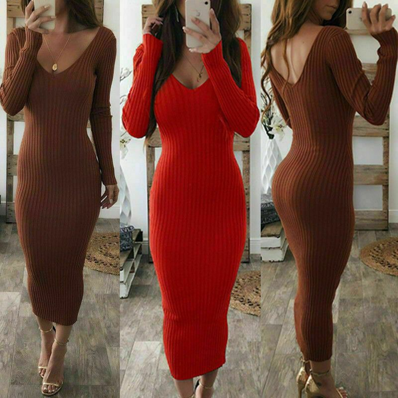 V Neck Jumper Pencil Knit Bodycon Sweater Dresses Womens Dress Long Sleeve