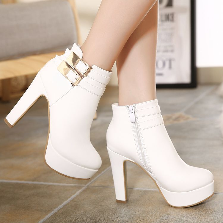 new images of cheap prices cozy fresh Classy White Buckle Design High Heel Winter Boots | Boots, Heels ...