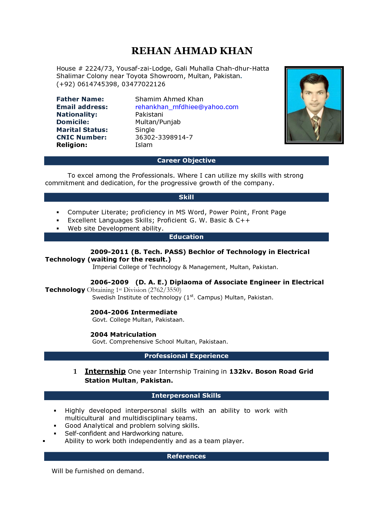 Cv Sample Format In Ms Word Resume Formatting In Word Resume Sample