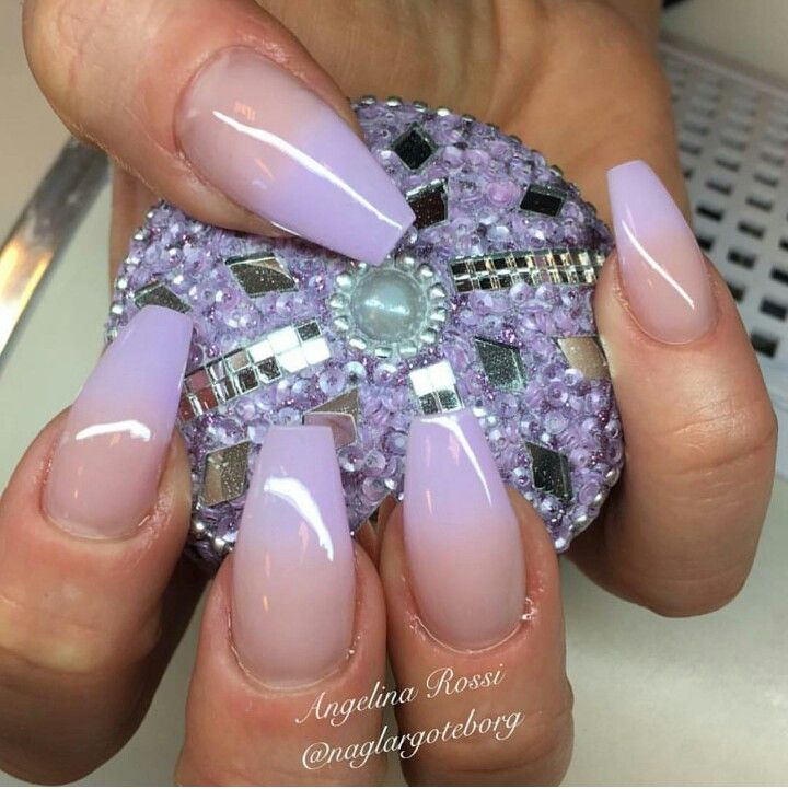 Nude Natural Lavender Gradient Coffin Shaped Nails Nail Art