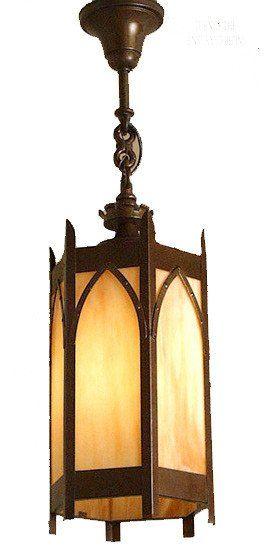 Antique C 1930 Church Lantern With Carmel Glass Antique Lanterns