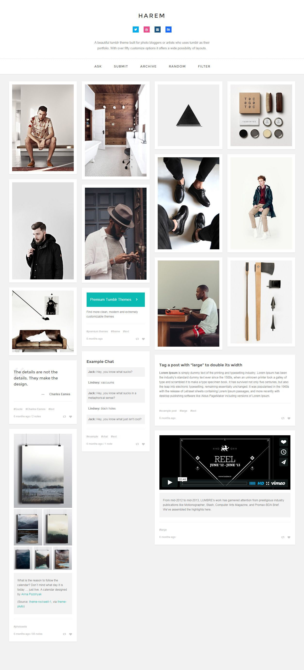 Google themes over the years - Harem Is Premium Full Responsive Tumblr Photography Theme Disqus Comments Google Analytics Infinite