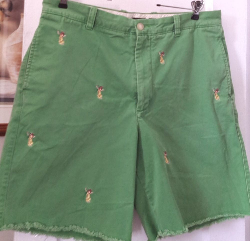 0b20dc8e Mens J Crew Preppy Green Chino Shorts w/ Embroidered Hula Girls Size 36  MINT! #JCrew #KhakisChinosFrayedhem