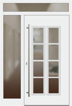 Aluminium Haustür Modell 1004 65 Weiß Mit Seitenteil Links Und Oberlicht