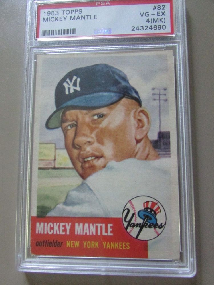 1953 Topps 82 Mickey Mantle Psa 4 Vg Ex Excellent No Creases