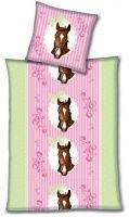 Kinderbettwäsche 135x200 Biber Pferd Flanell Mädchen Pferde