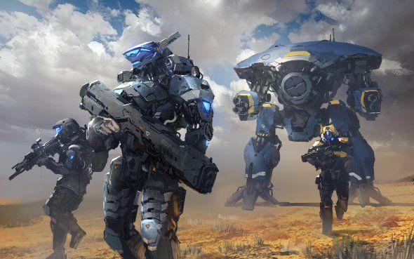 Batalhas Robos E Soldados Futuristas Nas Ilustracoes De Ficcao