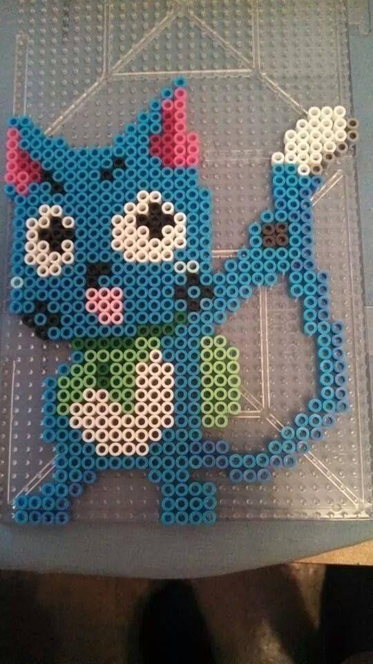 Happy - Fairy Tail | Kawaii Kiwi - Perler | Pinterest | Bügelperlen