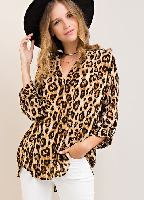 d330025292082 Leopard Print Top 3 4 Sleeve by Entro in 2019