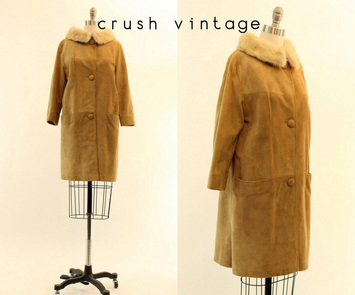 60s Coat Mink Collar Small / 1960s Vintage Suede Mod Fur Coat / Mocha Latte Coat by CrushVintage on Etsy https://www.etsy.com/listing/217358165/60s-coat-mink-collar-small-1960s-vintage