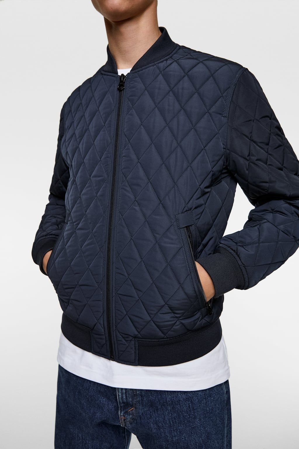 Image 4 Of Diamond Quilted Jacket From Zara Quilted Jacket Jackets Quilted Bomber [ 1537 x 1024 Pixel ]