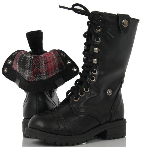 Kids Black Combat Boots - Cr Boot