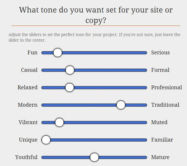 Survey Your Client To Establish The Correct Tone Of Voice For The Project Moving Forward Tone Of Voice Examples Web Design Style Tile