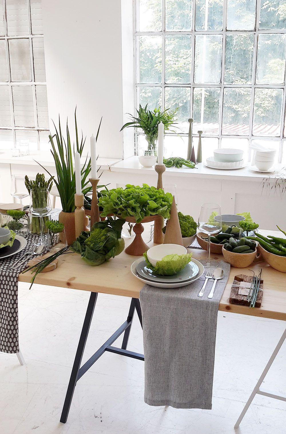 Schoner Tischdecken Beim Schoner Wohnen Workshop Schoner Wohnen Gruner Tisch Wohnen
