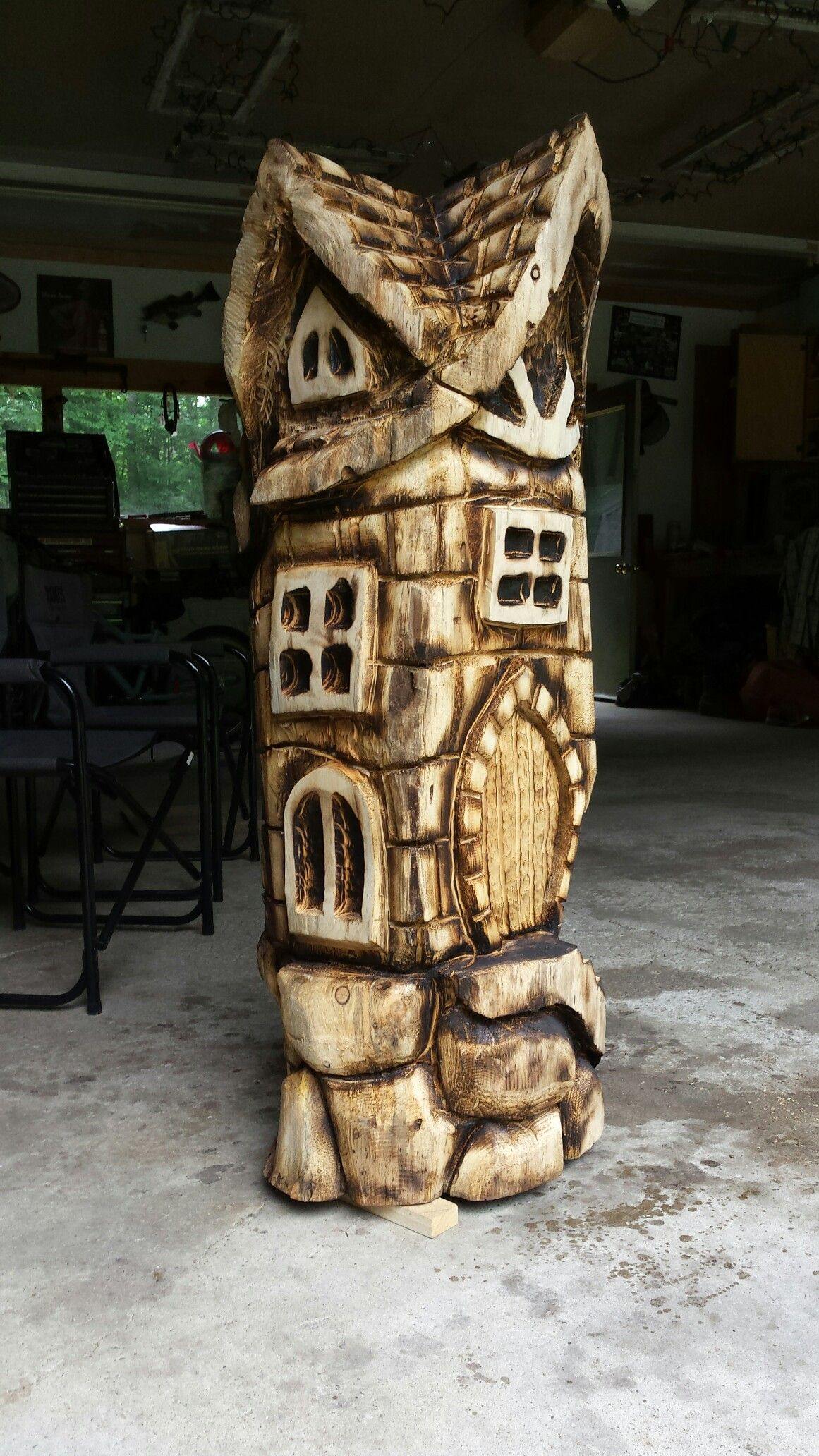 Chainsaw carved fairy house carvell saw creations on