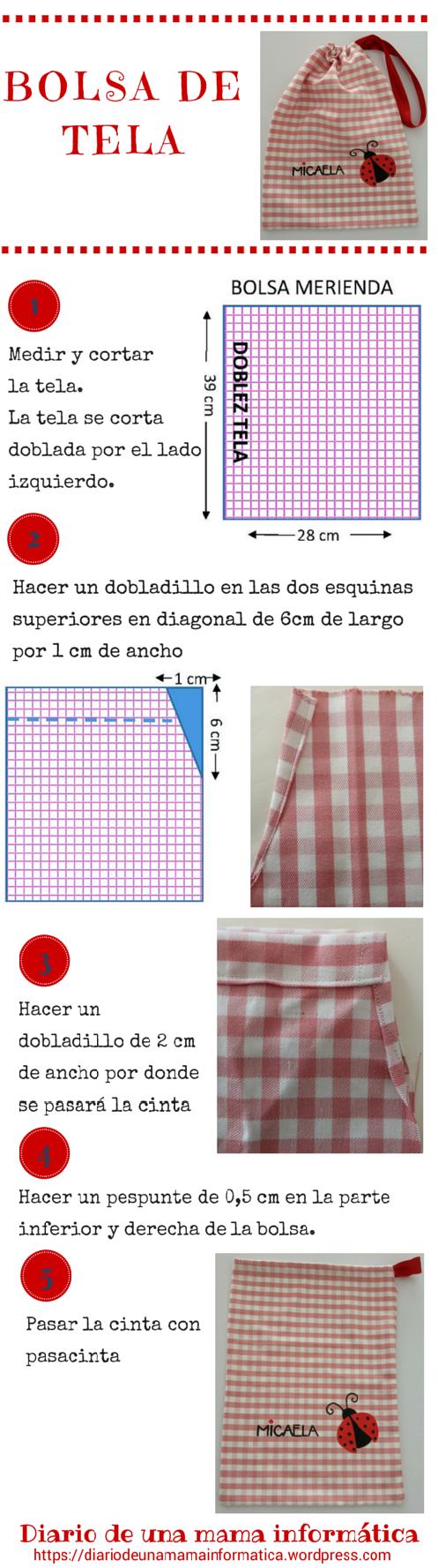 Tutorial gratis: bolsa de tela, bolsa de merienda, bolsa multiusos ...
