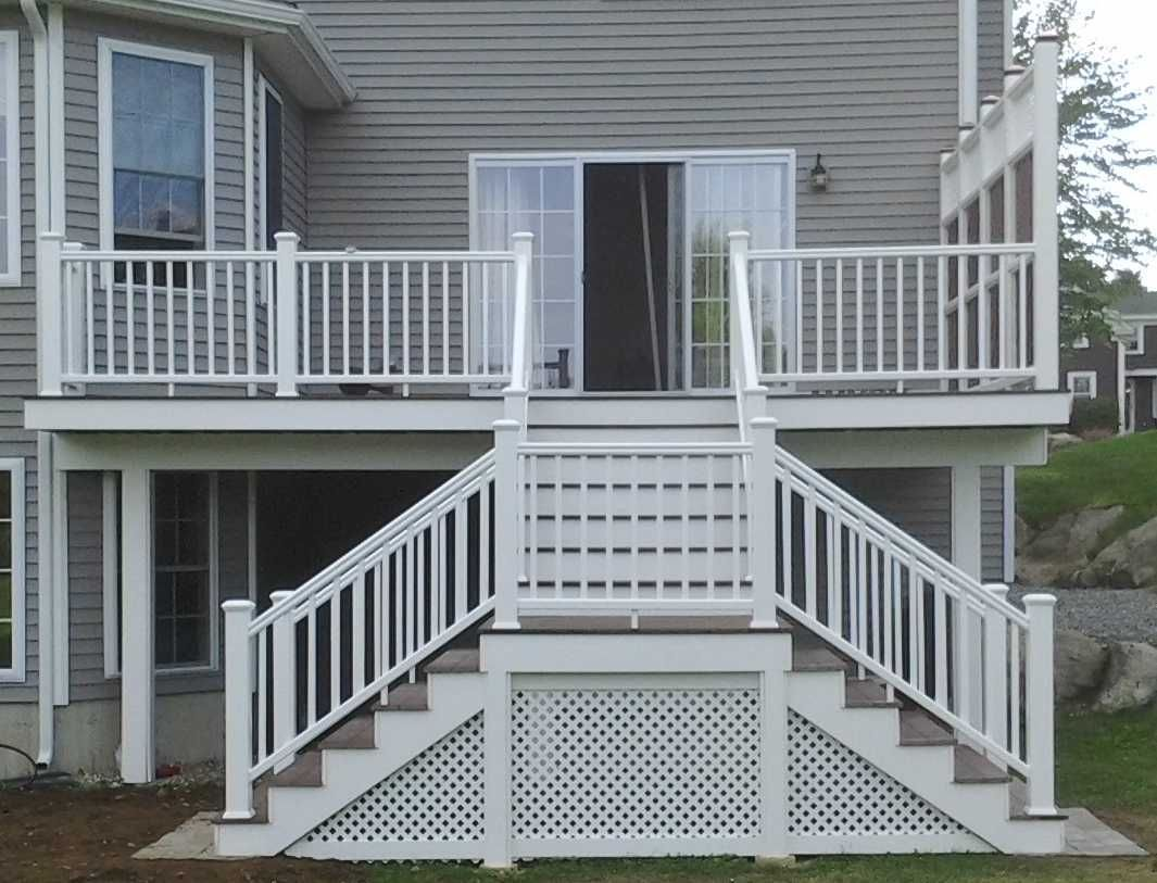 Split Deck Stairs With Landing Exterior Stairs Deck Steps