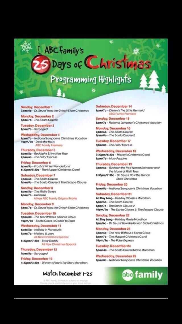 Abc Family S 25 Days Of Christmas Schedule 25 Days Of Christmas