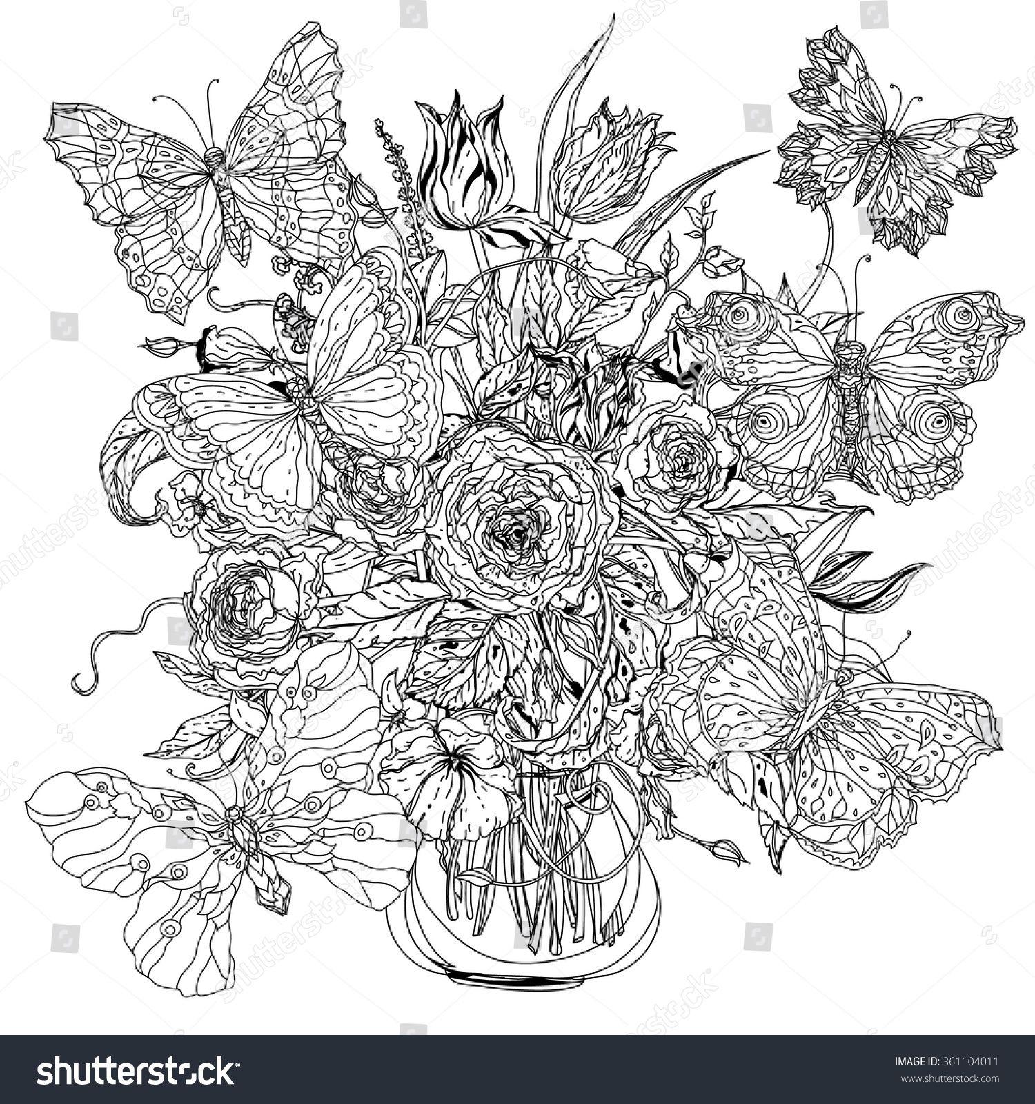Stock Vector Flowers And Butterflies Zentangle Interpretation Black