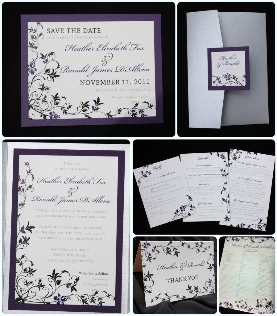 Dark Purple, Black & Silver Floral Pocketfold Wedding Invitations ...