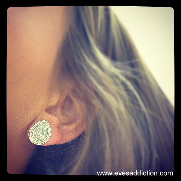 Sterling Silver Pearcut Iridescent Drusy Stud Earrings $44