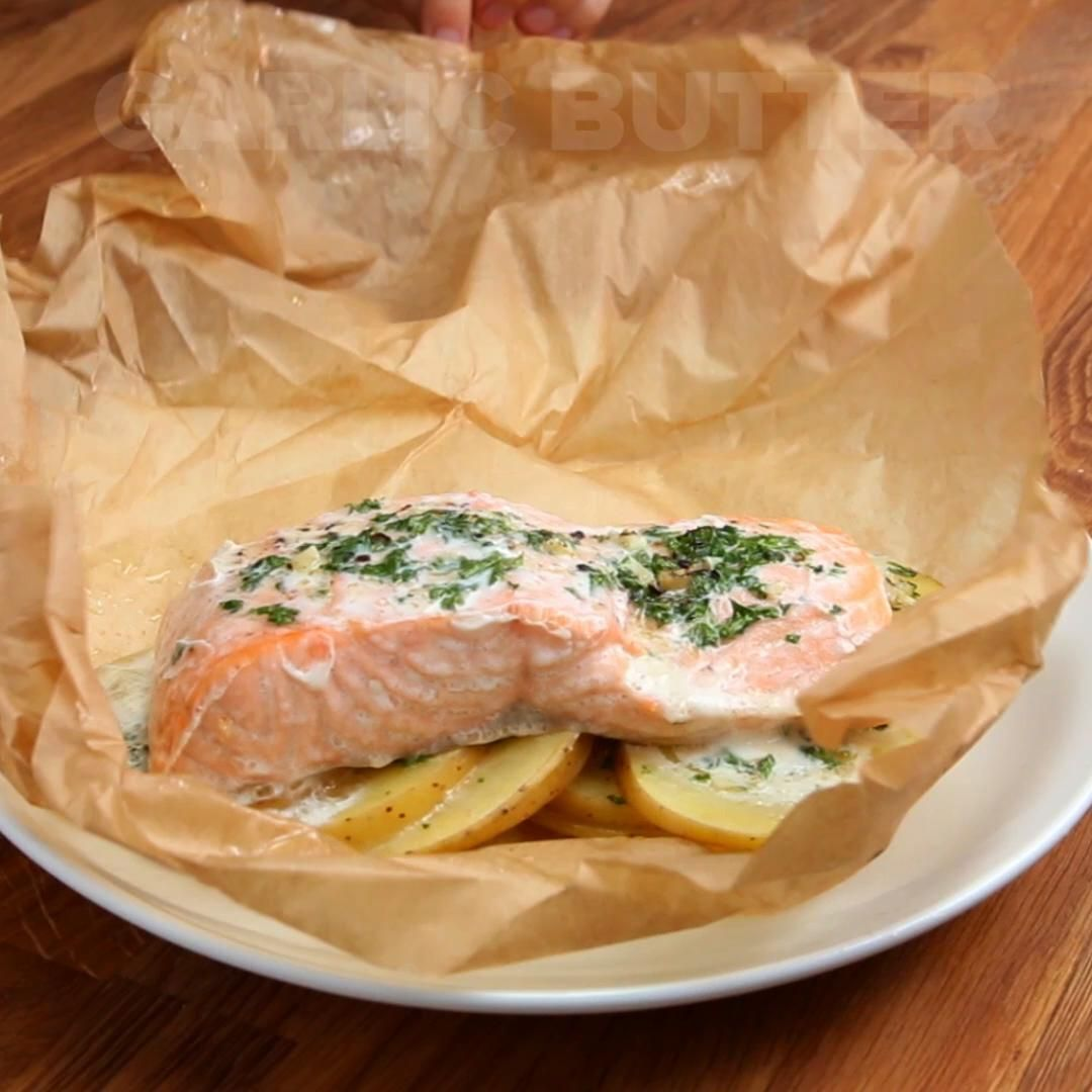 Garlic Butter Salmon Here's what you need: small white potato, butter, garlic, fresh parsley, salt, pepper, skinless salmon, parchment paperHere's what you need: small white potato, butter, garlic, fresh parsley, salt, pepper, skinless salmon, parchment paper