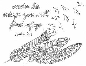 Feathers Coloring Page Cover You With Feathers Under His Wings