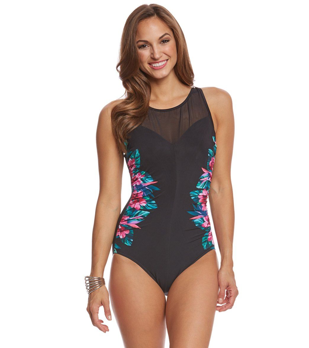 6d0c4fd28e4 Miraclesuit Tahitian Temptress Fascination Underwire One Piece Swimsuit at  SwimOutlet.com - Free Shipping