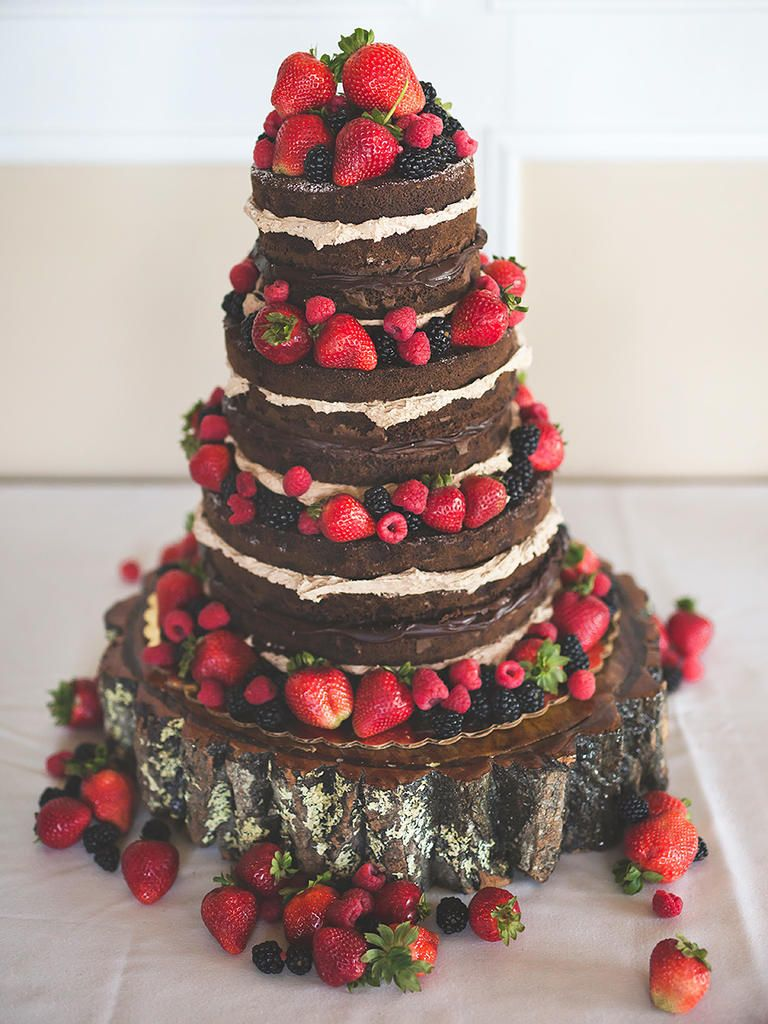 Paired With Mixed Berries This Naked Chocolate Wedding Cake Will Have Lovers Running Back For Seconds
