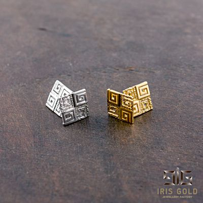 Earrings gold plated greek key