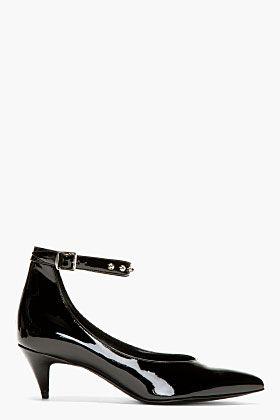 Saint Laurent Black Patent Leather Studded Kitten Heels For Women Ssense Kitten Heels Black Patent Leather Heels