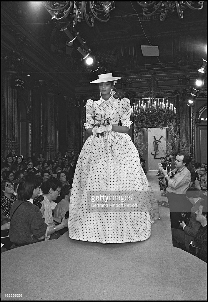 Yves Saint Laurent 1986 Spring/Summer collection fashion show in Paris .