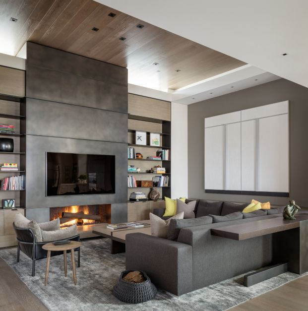 Lucas Design Associate - Blackened Steel Fireplace Wall & Luma Console
