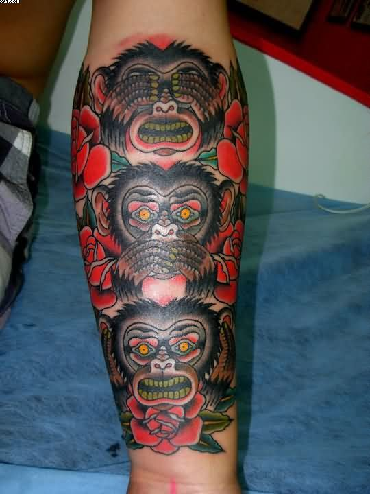 three wise monkeys and roses tattoo on arm tattoos pinterest rh pinterest co uk 3 wise monkeys tattoo fixers 3 wise monkeys tattoo fixers