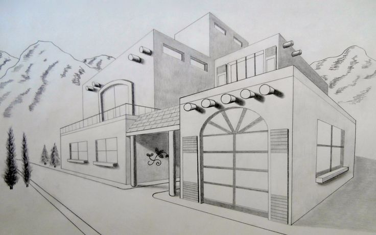 Easy 2 point perspective drawing two point perspective for Modern house 2 point perspective