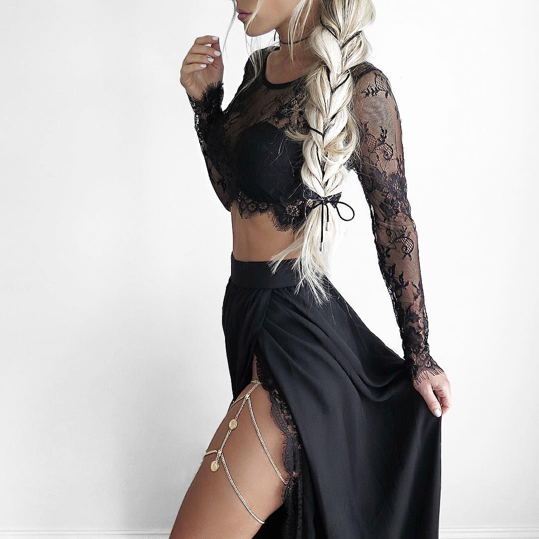 Sexy two piece black long lace prom dress with side slit thumbnail
