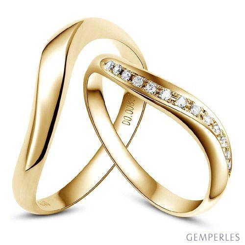 Alliances Ondulees Or Jaune Alliances Duo Avec Diamants Wedding Rings Jewelry Engagement Rings