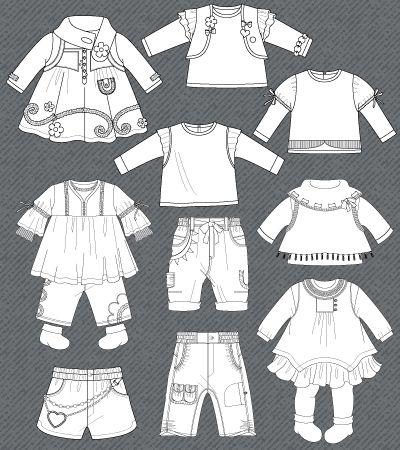 Set of isolated fashion flats for baby girls Children\u0027s Fashion