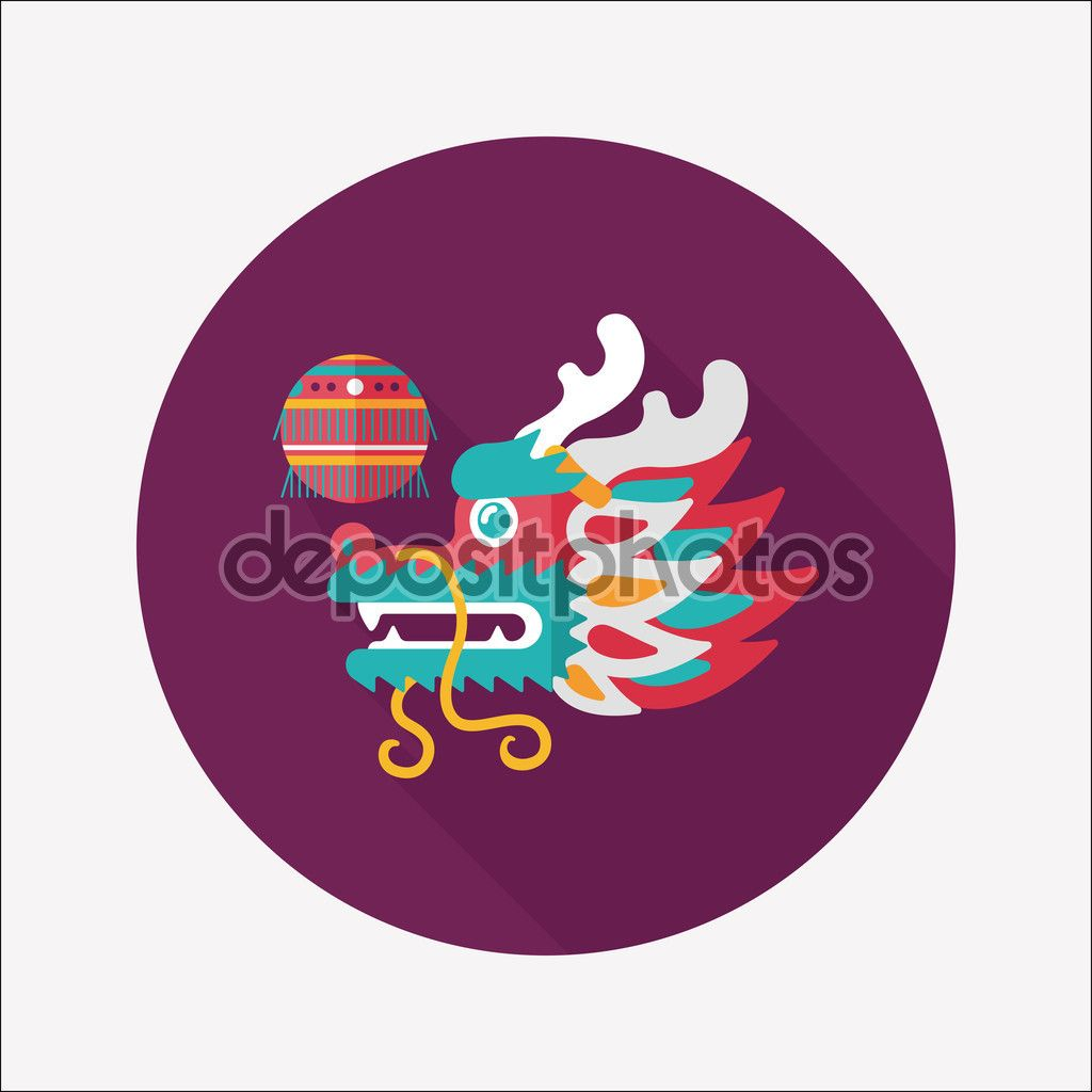 Chinese New Year flat icon with long shadow,eps10,The