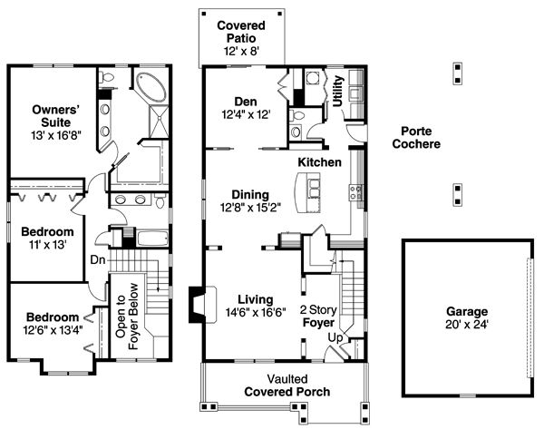 Alderdale 30-573 - Floor Plan from ociated Designs | 3 ... on contemporary porte cochere, narrow lot house plans with loft, custom porte cochere, narrow lot house plans with pool, colonial porte cochere, narrow lot house plans with 3 car garage, narrow lot house plans with porch, hotel porte cochere,