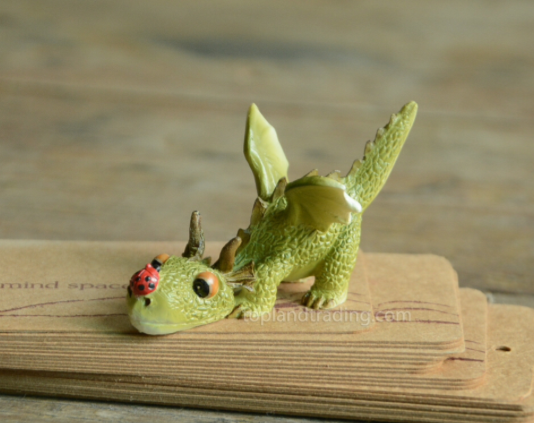 Miniature Fairy Garden Dragon Playing with Ladybug